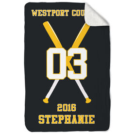 Softball Sherpa Fleece Blanket Personalized Team with Crossed Bats