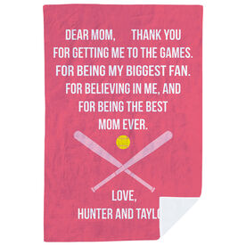 Softball Premium Blanket - Dear Mom Heart