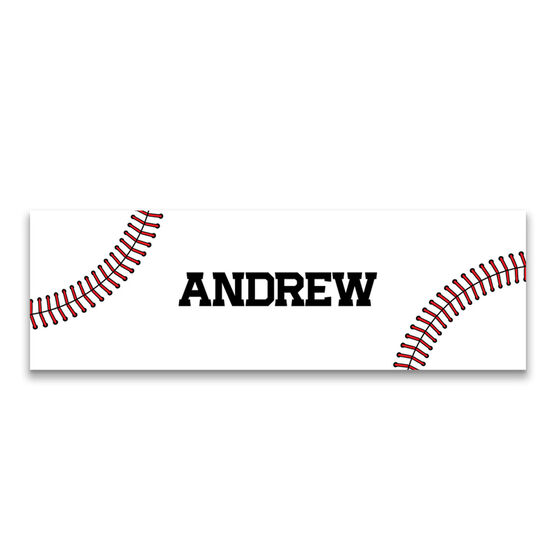 """Baseball 12.5"""" X 4"""" Removable Wall Tile - Personalized Stitches"""