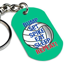 Volleyball Printed Dog Tag Keychain Bump Set Spike Eat Sleep Repeat