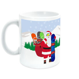 Snowboarding Coffee Mug Santa