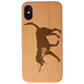 Girls Lacrosse Engraved Wood IPhone® Case - Lula The Lax Dog