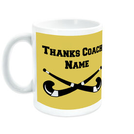 Field Hockey Coffee Mug Thanks Coach Crossed Sticks with Team Roster
