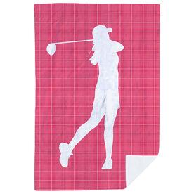 Golf Premium Blanket - Female Swing Plaid Pattern
