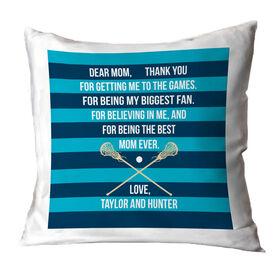 Girls Lacrosse Throw Pillow - Dear Mom Heart
