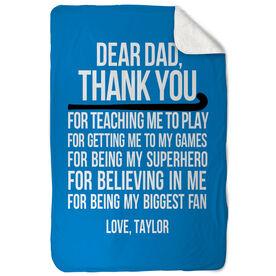 Field Hockey Sherpa Fleece Blanket - Dear Dad