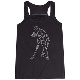 Field Hockey Flowy Racerback Tank Top - Field Hockey Player Sketch