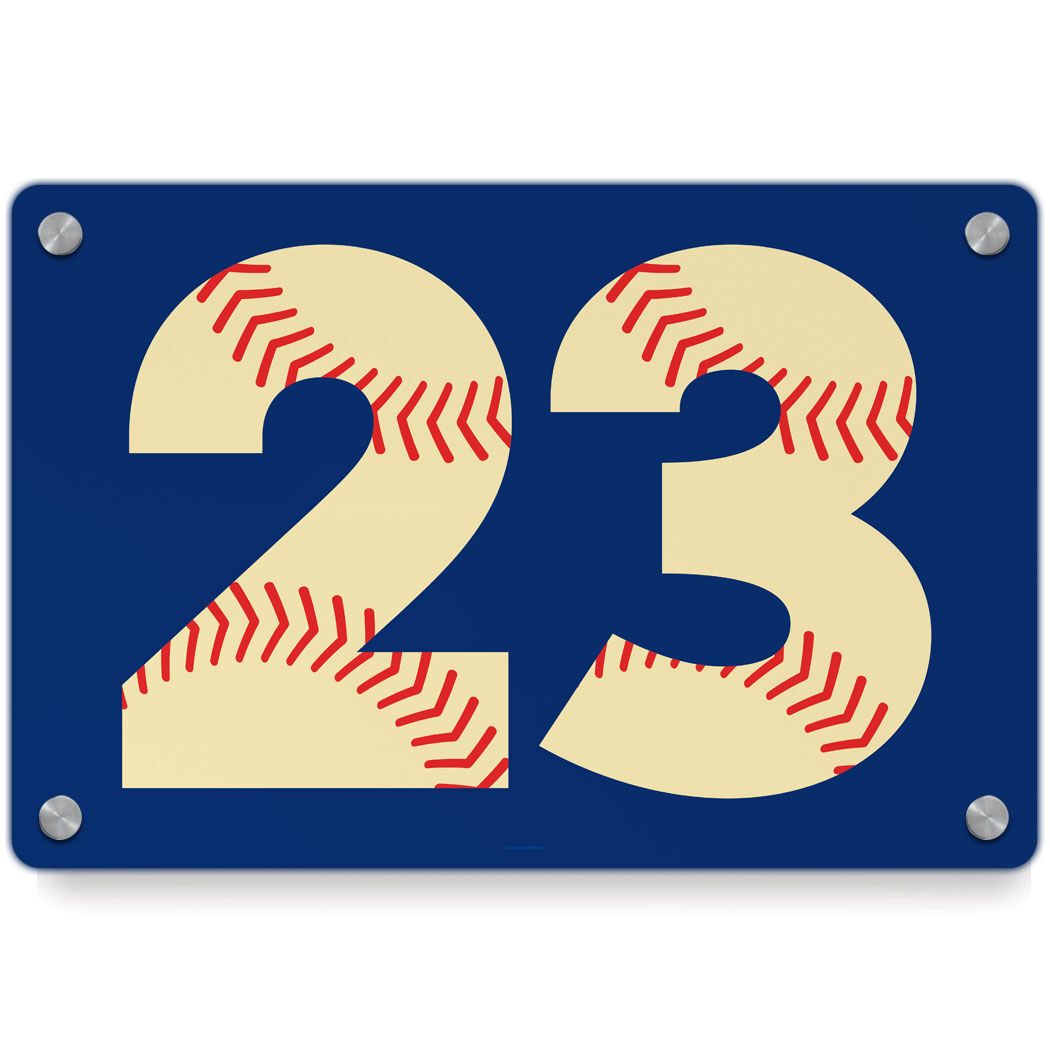 Baseball Metal Wall Art Panel   Number Stitches