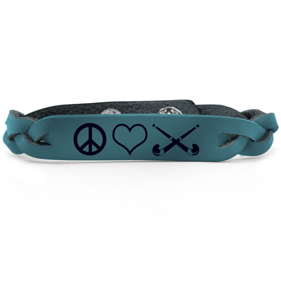 Field Hockey Leather Engraved Bracelet Peace Love Field Hockey