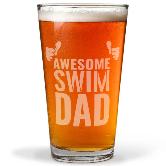 16 oz. Beer Pint Glass Awesome Swim Dad