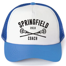 Girls Lacrosse Trucker Hat - Team Name Coach With Curved Text