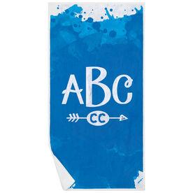 Cross Country Premium Beach Towel - Watercolor Monogram
