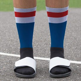 Hockey Printed Mid-Calf Socks - Hockey Stripes