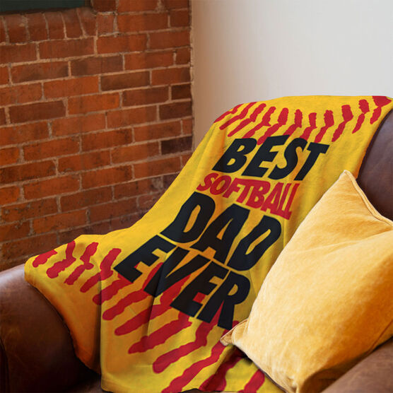 Softball Premium Blanket - Best Dad Ever