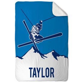 Skiing Sherpa Fleece Blanket - Personalized Airborne