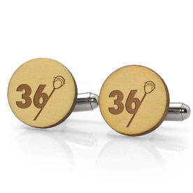 Guys Lacrosse Engraved Wood Cufflinks Goalie Stick Number Slice