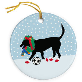 Soccer Porcelain Ornament Sammy The Soccer Dog With Christmas