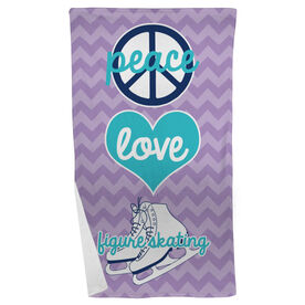Figure Skating Beach Towel Peace Love Figure Skating