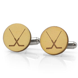 Hockey Engraved Wood Cufflinks Goalie Sticks