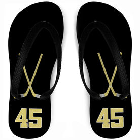 Hockey Flip Flops Personalized Crossed Sticks