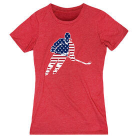 Hockey Women's Everyday Tee - Hockey Stars and Stripes Player