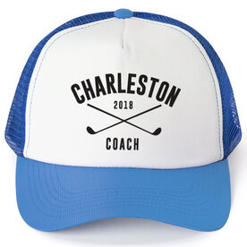 Golf Trucker Hat - Team Name Coach With Curved Text