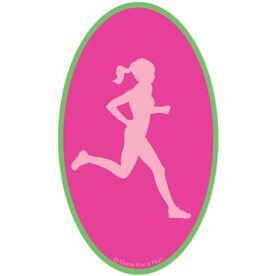 Run Girl Silhouette Car Magnet (Pink/Green)