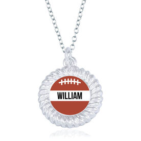 Football Braided Circle Necklace - Ball With Name
