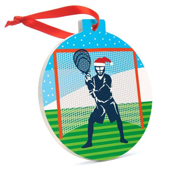 Lacrosse Round Ceramic Ornament - Santa Goalie