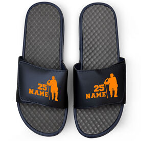 Hockey Navy Slide Sandals - Personalized Standing Hockey Player