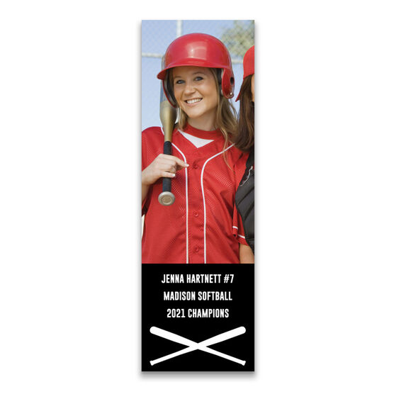 """Softball 12.5"""" X 4"""" Removable Wall Tile - Personalized Photo"""