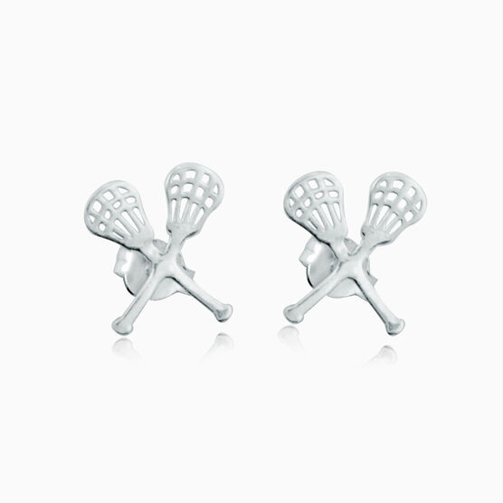 Livia CollectionSterling Silver Crossed Lacrosse Sticks Post Earrings