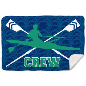 Crew Sherpa Fleece Blanket - Crew With Crossed Oars And Guy Rower