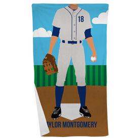 Baseball Beach Towel - Baseball Player