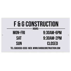 """Personalized Indoor/Outdoor Sign (8"""" x 16"""") - Business Hours Sign"""