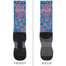 Swimming Printed Mid-Calf Socks - Floral Swim