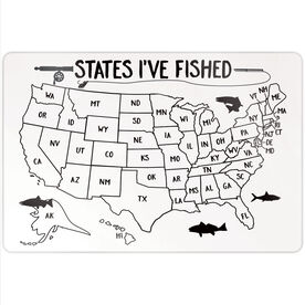 """Fly Fishing 18"""" X 12"""" Aluminum Room Sign - States I've Fished Outline"""