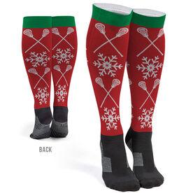 Girls Lacrosse Printed Knee-High Socks - Christmas Crossed Sticks