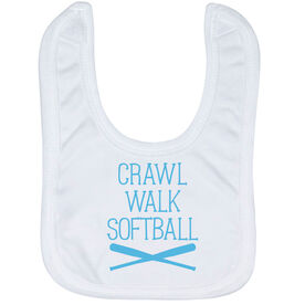 Softball Baby Bib - Crawl Walk Softball