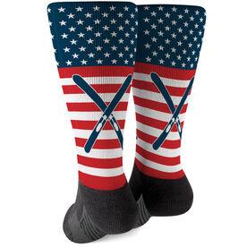 Skiing Printed Mid-Calf Socks - USA Stars and Stripes