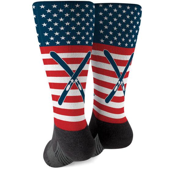 ee1906905 Images. Skiing Printed Mid-Calf Socks - USA Stars and Stripes
