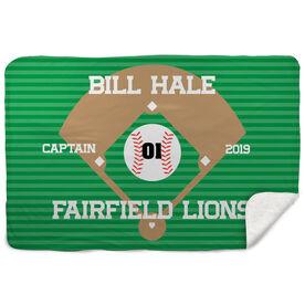 Baseball Sherpa Fleece Blanket - Personalized Baseball Captain