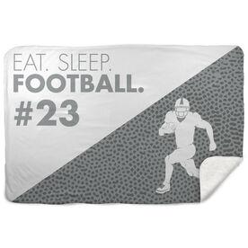 Football Sherpa Fleece Blanket Eat Sleep Football