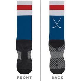 Hockey Printed Mid-Calf Socks - Hockey Stripes
