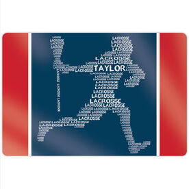 "Guys Lacrosse 18"" X 12"" Aluminum Room Sign - Personalized Words Male Player"