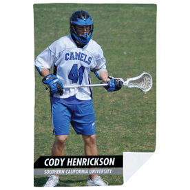 Guys Lacrosse Premium Blanket - Custom Lacrosse Player Photo
