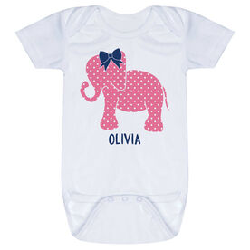 Personalized Baby One-Piece - Elephant with Bow