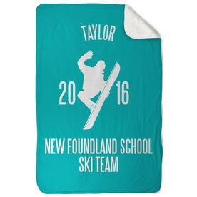 Snowboarding Sherpa Fleece Blanket - Personalized Team