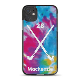 Field Hockey iPhone® Case - Personalized Tie-Dye Pattern with Sticks