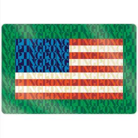 "Ping Pong 18"" X 12"" Aluminum Room Sign - American Flag Mosaic"